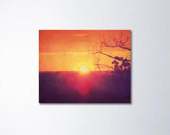 Orange Wall Art, Canvas Art, Rustic Home Decor, Sunset Photography, Sunset Canvas Photography, Large Canvas Print, Rustic Photography