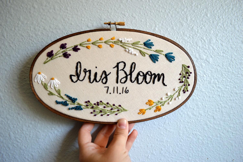 Custom name embroidery hoop baby floral