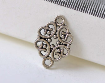 Antique Silver Filigree Connector 13x20mm Set of 30 A8257