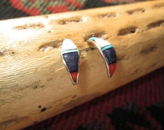 Zuni Multi- Stone and Sterling Inlay Half Hoop Earrings