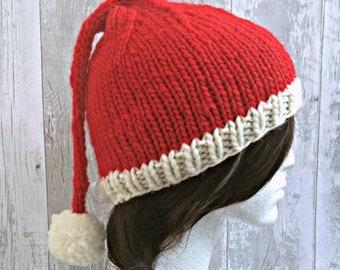 Knitted Santa Hat, Mens Santa Hat, Womens Santa Hat, Christmas Hat Adult, Christmas Outfit, Adult Festive Hat, Adult Pixie Hat, Pom Pom Hat