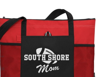 Football Mom Bag with team name and design in Glitter or Solid Color Totes-Glitter-Football tote-Football mom bag Football sport bag