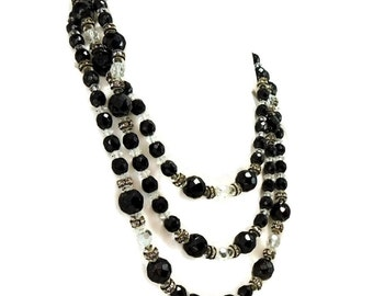 Art Deco Black and Crystal Rhinestone Bead Necklace 59 inches of Bling