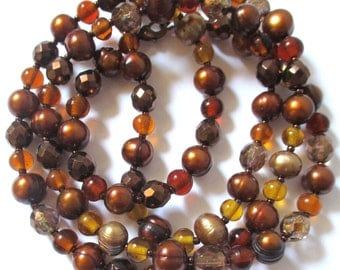 brown and gold pearl necklace czech glass necklace boho necklace boho jewelry 32 inch necklace gift for her gift for mom birthday gift