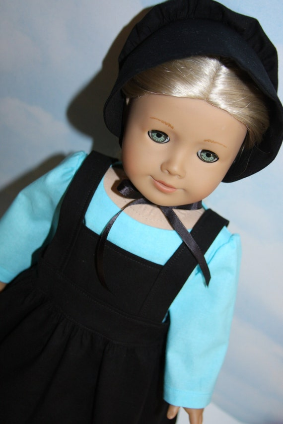 18 inch doll like american girl aqua amish dress with black