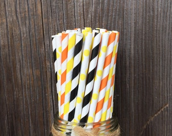 100 Orange, Black and Yellow Striped Straws - Construction Themed Party, Birthday Supply, Free Shipping!