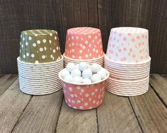 Gold and Peach Paper Snack Cups - Set of 48 - Stripe Candy Cup - Birthday Party - Mini Ice Cream Cups - Paper Nut Cup - Same Day Shipping