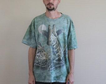 The Mountain Giraffe Green Acid Wash Shirt Mens XL