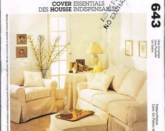 UNCUT Sofa Slipcover Ottoman Slipcover - Chair Slip Cover Patterns McCalls Home Decor Sewing Pattern 643
