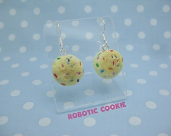Rainbow Cookie earrings polymer clay Sterling Silver