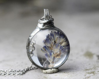Lavender Pendant Botanical Jewelry Soldered Glass Pendant Pressed Flower Spring Natural Woodland Jewelry Rustic