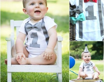 Boys First Birthday Outfit - Baby Boy Clothes - Gray Suspenders Aqua Red or Gray Bow Tie - First Birthday Boy Shirt -1st Birthday Boy Outfit