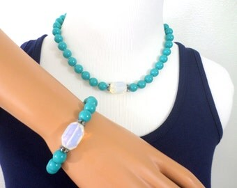 Opal Necklace Opal Bracelet Turquoise Bead Necklace Opal Beaded Bracelet Matching Jewelry Set Large Opal Turquoise Beaded Vintage Jewelry
