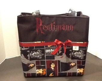 Personalized tote bag with lots of pockets made of Harry Potter, Hermione, Ron fabric