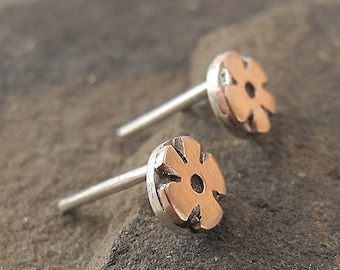 Copper daisy flower earrings