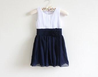 White Navy Flower Girl Dress with Flower Chiffon Navy Blue Knee-length Flower Girl Dress