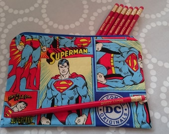SALE Superhero Pencil Case using Superman Fabric. Fully Lined!