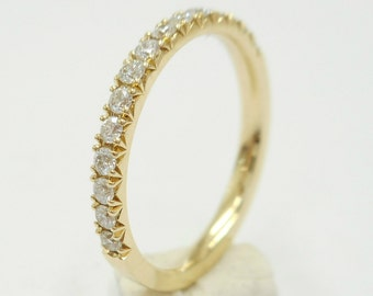 Diamond wedding band French Cut Pave,comfort fit, pave setting,14 K. white,yellow or pink(rose) gold hand made in U.S.
