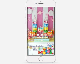 Candy Land Snapchat Geofilter, Lollipop Party Snapchat Filter, Candy Shop Birthday Geofilter, Birthday Snapchat Geofilter