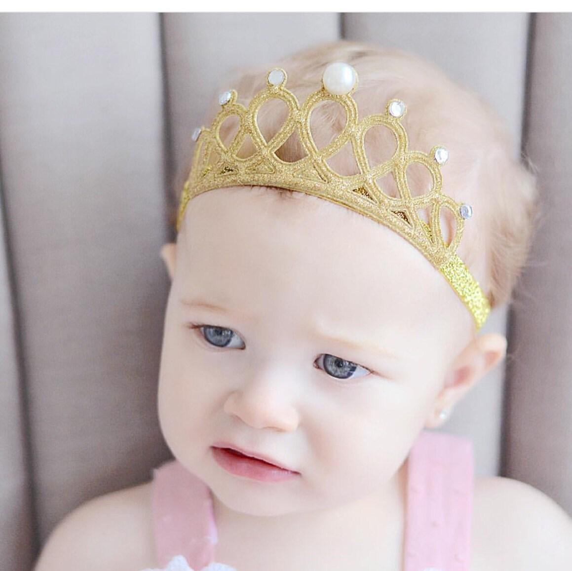 Gold Glitter Crown Headband For Baby Girl Birthday Crown