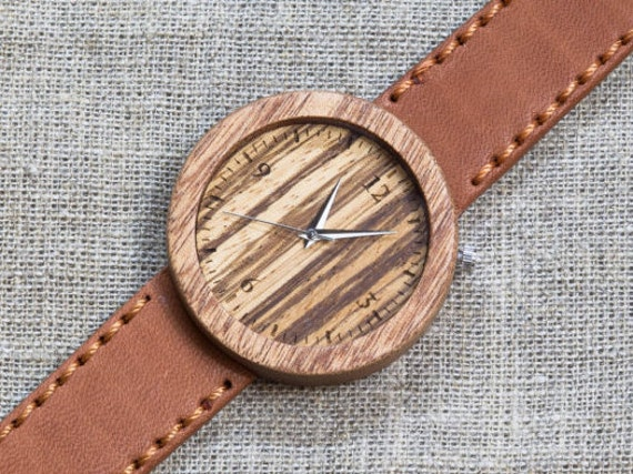 African Sapele and Zebrano wood watch , Majestic Watch,  Terracotta  Genuine Leather strap + Any Engraving / Gift Box. Anniversary  gift