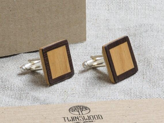 Double Wood Cufflinks. Personalized Cuff Links. Laser Engraved Monogrammed Initial Wooden Cufflinks. Сustom cufflinks. Groomsmen Gift. Xmas.