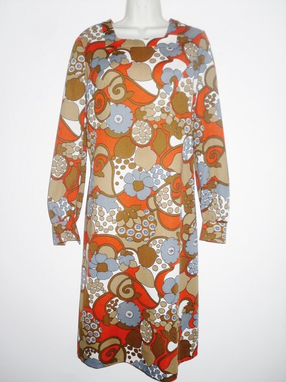 Vintage 1970's Retro Floral Print A Line Shift Dress by Richard Baker Orange Browns Grey Abstract