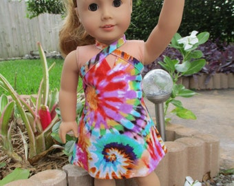 Tie Dye Dress fits American Girl Doll and 18 inch dolls