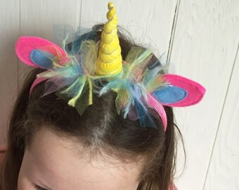 Yellow and Pink Rainbow Unicorn Headband with soft ears and mane