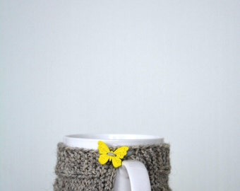 Knit coffee mug cozy / mug warmer with cable pattern, grey cup sleeve,butterfly button