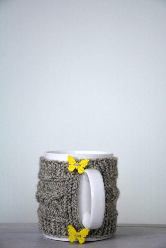 Items similar to Knit coffee mug cozy / mug warmer with cable pattern, grey c...