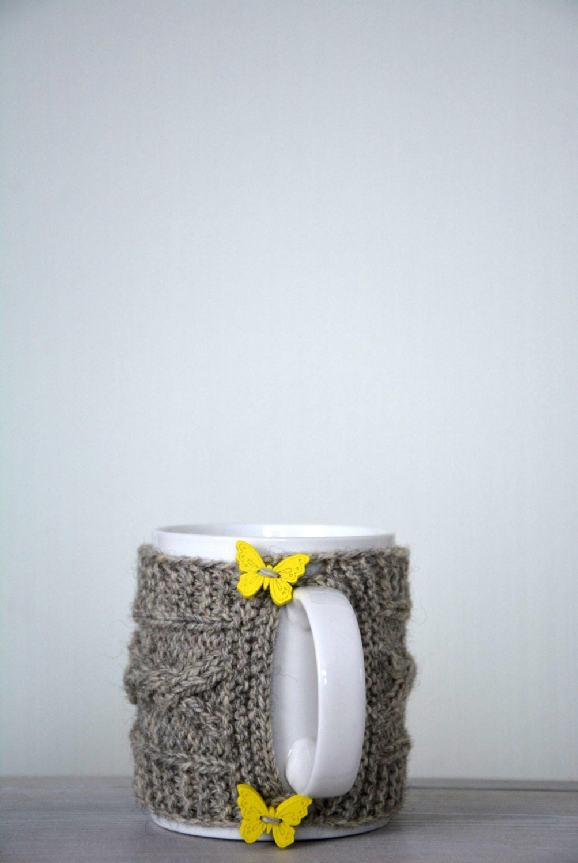Knitted Mug Warmers Pattern : Knit coffee mug cozy / mug warmer with cable by HandiCraftbyJane