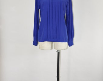 80s Christian Dior blouse / 1980s cobalt blue shirt / vintage pleated silky top