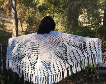 Knit shawl, white, knit, shawl, Fringed wrap