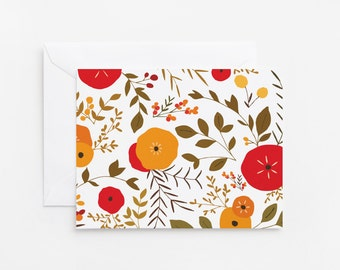 Fall Notecard Set of 8   Folded Notecards with Illustrated Autumn Pattern: Autumn Wreath Collection