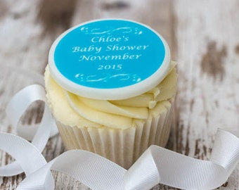 Baby Shower Cupcake Toppers - personalised edible sugar cupcake decorations (pack of 12)