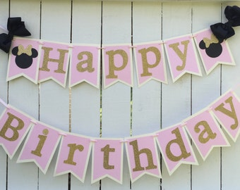 Minnie Mouse Pink and gold birthday banner Minnie Mouse birthday party Minnie Mouse birthday party pink gold 1st birthday
