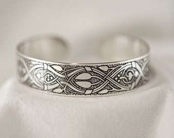 Celtic Art Cuff Etched in Sterling Silver from the Abercorn Church, Linlithgow. Handmade in Scotland.
