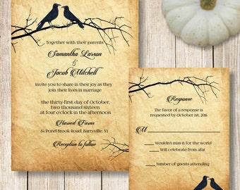 Raven Wedding Invitation, Printable Halloween Wedding Invitation, Goth Wedding Invitation, Crow Wedding Invitation, Vintage Wedding Suite