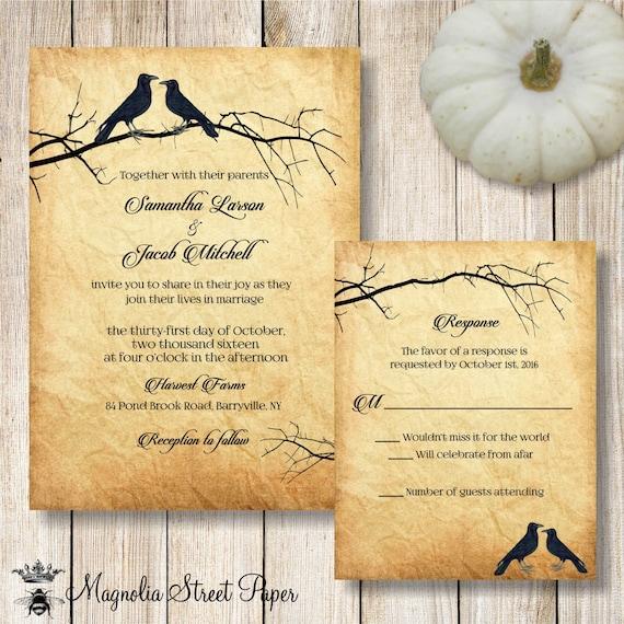 Raven wedding invitation printable halloween wedding for Free printable gothic wedding invitations