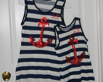 Mother Daughter Monogramed Dresses Matching Navy & White Stripe Sequin Anchor Dress, Tank Dress, Summer