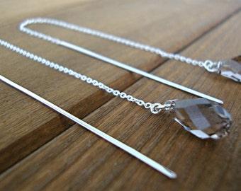 Greige Swarovski Crystal Sterling Silver Threader Earrings - Silver Earrings - Bridesmaid Earrings - Minimalist Jewelry - Statement Earrings