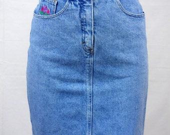 Vintage 90s Pencil Skirt Light Blue Retro 90 QUARRY Straight Jean Denim S/M High Waist