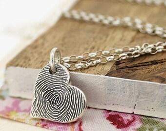 Silver Fingerprint Heart Charm Necklace | Fingerprint Jewellery | Personalised Gift for Mum