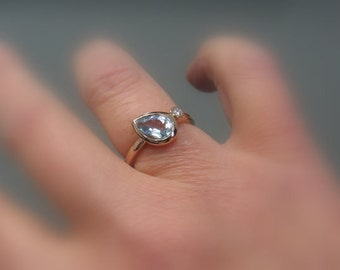 "Moissanite Pear Aquamarine 14k Gold, ""Forever Brilliant"", Engagement Ring, Made to Order"