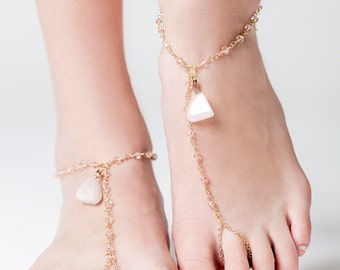 Chain Sandals with Rose Quartz, Bohemian Barefoot Sandals, Gold Chain Sandals, Bohemian Wedding, Boho Bridal Jewelry, Beach Wedding Jewerly