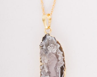 Gold Wrapped Black Druzy Necklace - Agate - One of a Kind