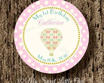 Hot air balloon thank you tag - balloon Baby Shower - balloon printable - balloon sticker - hot air balloon cupcake topper - balloon label