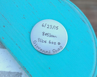 Baby Specs Token - Hand Stamped Token - Baby Keepsake - Remembrance Keepsake - Baby Birth Announcement - Custom Token - Personalized Token
