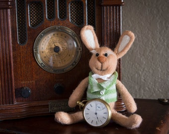 Needle felted stuffed bunny rabbit Fiber Art Sculpture